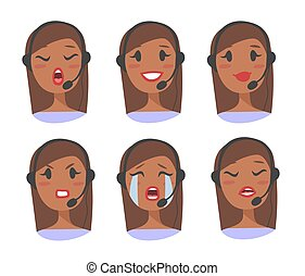 Callcenter worker with headset. Cartoon vector illustration...