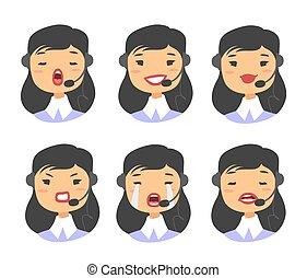 Callcenter worker with headset. Cartoon vector illustration...