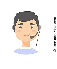 Portrait of happy smiling male customer support phone...