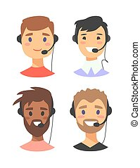 Portrait of happy smiling male customer support phone operator. callcenter worker with headset. Cartoon vector illustration man agent