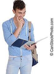 Portrait of happy smiling student with notebook and bag