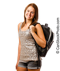 Portrait of happy smiling teenage schoolgirl with backpack isolated on white
