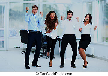 Portrait Of Happy Successful Business Group at office.