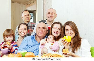Portrait of happy three generations family