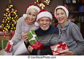 Portrait of happy three people family