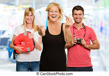 Portrait Of Happy Tourists