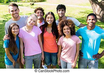 Portrait of happy university students