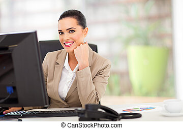 white business woman in office
