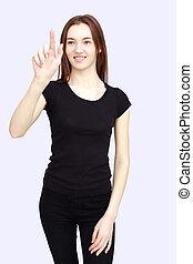 portrait of happy woman in black