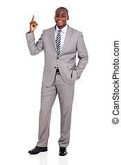 young african businessman pointing up