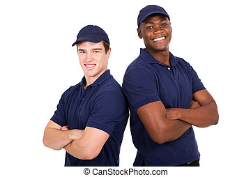 young co-workers with arms crossed - portrait of happy young...