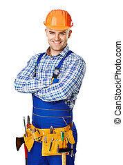 Portrait of happy young construction worker