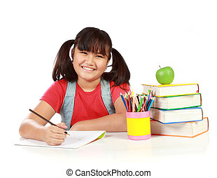 portrait of happy young girl studying