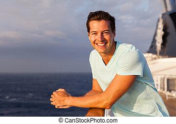 happy young man enjoying cruise