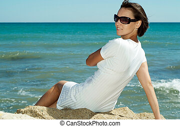 woman on the seafront