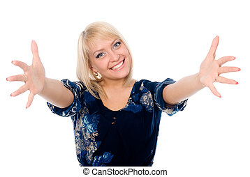 Portrait of happy young woman raising his arms