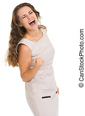 Portrait of happy young woman rejoicing success