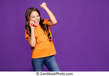 Portrait of her she nice attractive charming lovely cheerful glad satisfied wavy-haired girl talking on phone celebrating isolated on bright vivid shine vibrant lilac purple violet color background