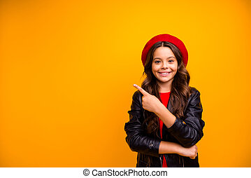 Portrait of her she nice attractive charming lovely cute cheerful cheery long-haired girl showing advice advert ad isolated over bright vivid shine vibrant yellow color background