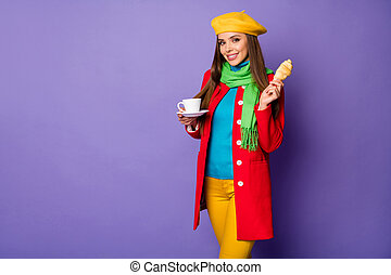 Portrait of her she nice attractive charming pretty cheerful cheery straight-haired girl eating lunch snack homemade meal outside isolated on lilac purple violet pastel color background