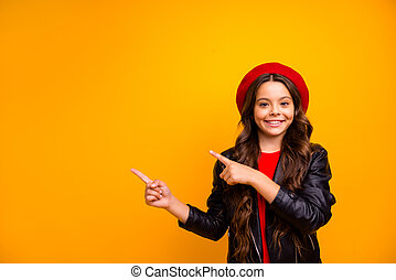 Portrait of her she nice attractive charming pretty trendy cheerful glad long-haired girl showing advice recommend solution isolated over bright vivid shine vibrant yellow color background