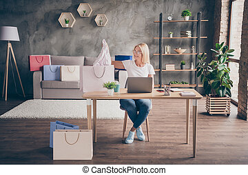 Portrait of her she nice attractive cheerful woman sitting in chair using laptop selling things packing order goods e-commerce cozy comfort modern loft brick industrial interior style house apartment