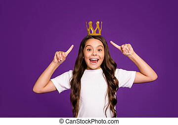 Portrait of her she nice attractive lovely charming cheerful cheery wavy-haired girl demonstrating diadem isolated on bright vivid shine vibrant purple violet lilac color background