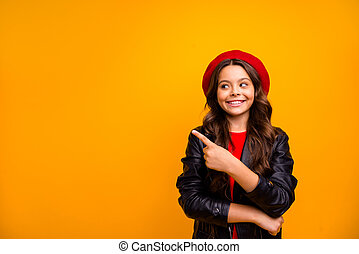 Portrait of her she nice attractive lovely cute cheerful cheery glad long-haired girl showing advice follow new isolated over bright vivid shine vibrant yellow color background