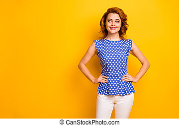 Portrait of her she nice attractive lovely pretty cute curious cheerful cheery wavy-haired girl guessing new idea solution looking aside isolated on bright vivid shine vibrant yellow color background
