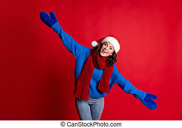 Portrait of her she nice attractive pretty kind friendly cheerful cheery girl wearing festal Santa look having fun hugging you isolated bright vivid shine vibrant red color background