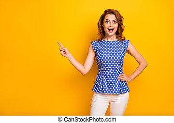 Portrait of her she nice-looking attractive lovely pretty fashionable cheerful cheery wavy-haired girl showing like follow subscribe isolated on bright vivid shine vibrant yellow color background