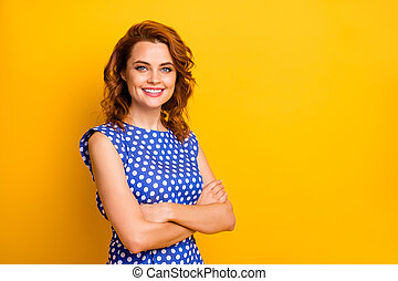 Portrait of her she nice-looking fashionable attractive lovely content cheerful wavy-haired girl wearing pin-up dress folded arms isolated on bright vivid shine vibrant yellow color background