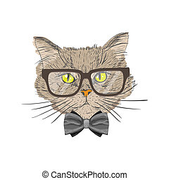 Portrait of hipster cat - Portrait of a cat with bow tie and...