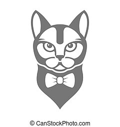 Portrait of Hipster Cat with Bow Tie Isolated on White Background. Vector
