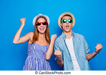Portrait of his he her she two nice attractive lovely cheerful cheery glad people celebrating rejoicing holiday vacation tour isolated on bright vivid shine vibrant blue color background