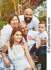 Portrait of hispanic big family