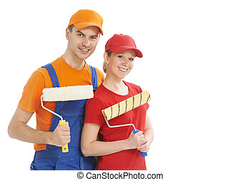 Portrait of house painter workers isolated