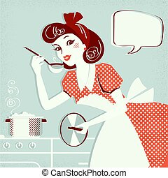 Portrait of housewife cooking soup in her kitchen room for...