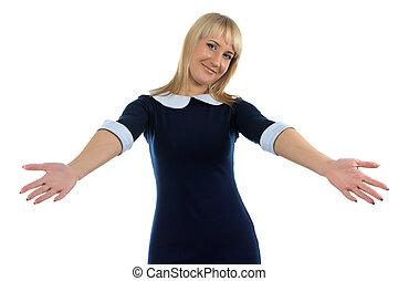 Portrait of hugging business woman