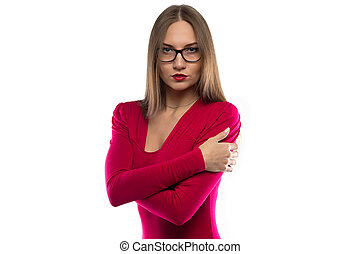 Portrait of hugging woman in red shirt