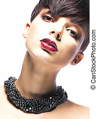 Portrait of Imposing Elegant Woman Brunette with Short Hair. Arrogance & Futurism