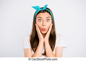 Portrait of impressed girl hear horrible terrible novelty about her mistake feel nervous stare stupor wear stylish outfit isolated over white color background