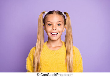 Portrait of impressed girl hear incredible novelty about black friday scream feel crazy wear yellow jumper isolated over violet color background
