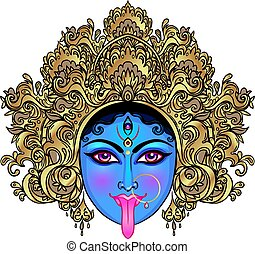 Portrait of Indian Hindi goddess Kali. Female blue head with open moth and out stuck tongue. Destroyer of evil forces. Diety, spiritual art. Occultism and witchcraft. Vector isolated illustration.