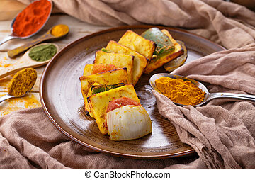 indian street food paneer tikka - portrait of indian street...