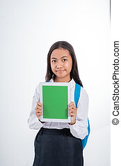 portrait of indonesian junior high school student over white background