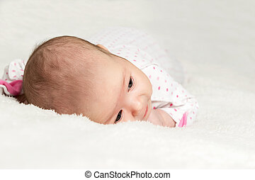 Portrait of infant closeup view from above