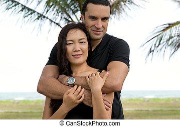 Portrait of interracial couple