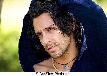 Portrait of italian male model in the summer