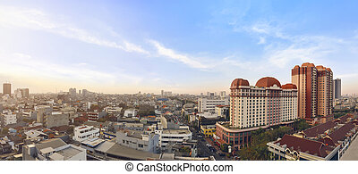 Portrait of jakarta cityscape with modern building